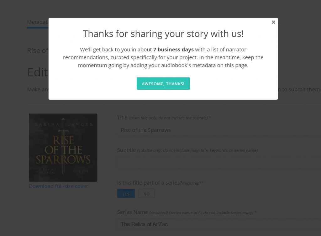 The Audiobook Diaries | Week 2 | FIndaway Voices' Thank You screen